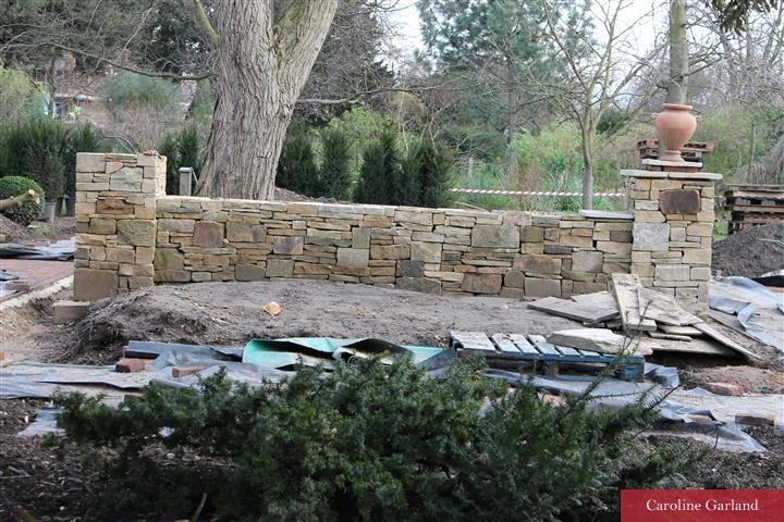New walling at the Chelsea Physic Garden