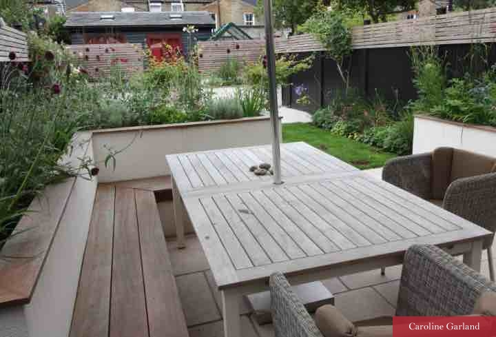 Clapham garden with raised beds and Sapele wood bench